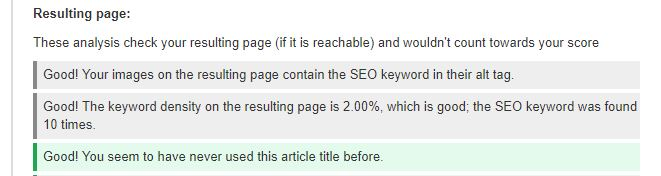 Resultado global de SEO do plugin para Joomla